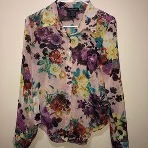 about a girl Button Up Floral Semi Sheer Light